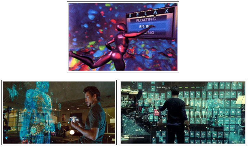 Different designs of user interfaces in 3 dimensions, used in various films. From top to bottom: 'The Lawnmower Man' and 'Iron man 2'.