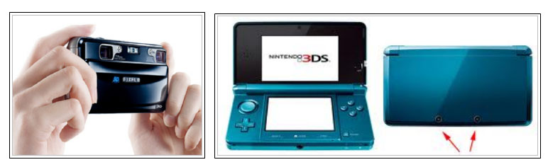 Left: Camera FujiFilm FinePix Real 3D W1. Right: Nintendo 3DS console. Both are capable of taking stereoscopic photographs.