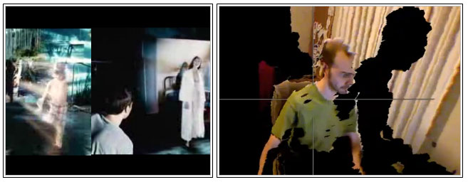 On the left frame of the sci-fi film 'Minority Report' which displays a holographic video. On the right, a real hologram, as of today, obtained by using a Microsoft Kinect device.