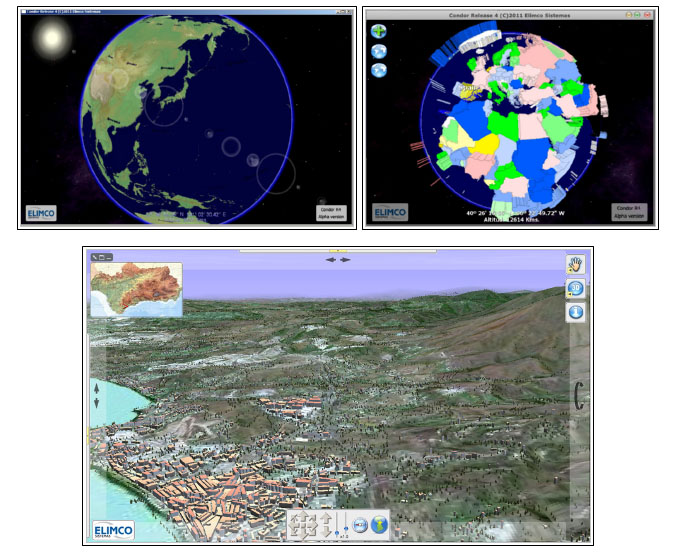 Various three-dimensional GIS displays. Above Condor Release 4. Below Condor Release 3. Both from Elimco Sistemas.