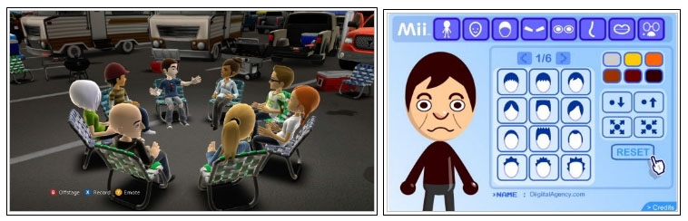 Left: Virtual meeting system with avatars proposed by Microsoft, for the Xbox 360. Right: Different possibilities to customize their 'Mii' characters, implemented by the Nintendo Wii console. Although the system seems very simple, it usually manages to get a very reasonable physical resemblance to the user.