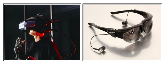 Comparative images of the different models of virtual reality glasses: To the left the model included in Virtuality's system, which was very popular throught the 90's. To the right, model Vuzix Wrap VR, launched august 2011. The latter includes two 852x480 point screen, a high-precision head-tracker and stero sound system.