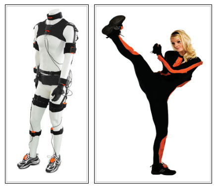 Various body tracking systems. On the left the motion capturing suit MVN BIOMECH, on the right, model MVN, both from XSens.